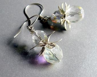 Crystal Earrings Sterling Silver Earrings Clear Crystal Dangle Earrings, Gift for Her Jewelry