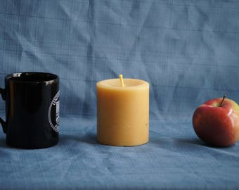 "Yoga Candle - 8.5 cm x 7.5cm (3.5"" x 3"") Handmade 100% Natural Beeswax Pillar Candle"