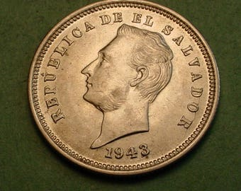 El Salvador 1943 25 Centavos  BU REF# KM-136 <> # ET3913