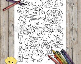 Kawaii Junk Foods Printable Coloring Page