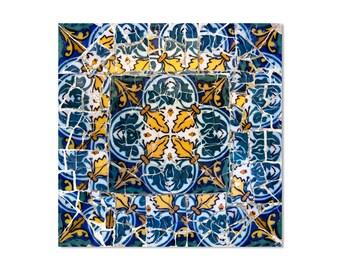 Fine art photography, blue wall art, rustic wall decor, Gaudi, blue wall decor, Barcelona