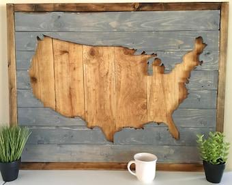 USA Wood Wall Art, America Wall Hanging, Rustic Wood Art, United States, Large Wood Wall Art, American Decor, Farmhouse, Boho Wood Art