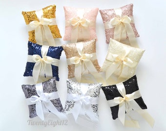 """Ring Bearer Pillow -  Sequin with Satin Bow - 8"""" Sequin Ring Bearer Pillow, Wedding Ring Bearer, Ring Pillow"""