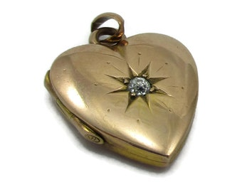 14K Gold Heart Locket Pendant Diamond Dainty Victorian Designer Costume Jewelry Mothers Day Gift Ideas Estate Find