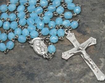 Czech Glass Rosary in Aqua Opal, 5 Decade Rosary, Catholic Rosary, March Rosary, Birthstone Rosary