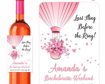 Bachelorette Wine Labels Personalized Stickers Last Fling Hot Air Balloon Pink Butterflies - Waterproof Vinyl 3.5 x 5 inch