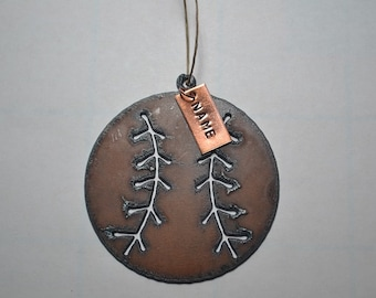 BASEBALL made of Rustic Rusty Rusted Recycled Metal Custom PERSONALIZED BASEBALL / Sports / Ornament or Magnet