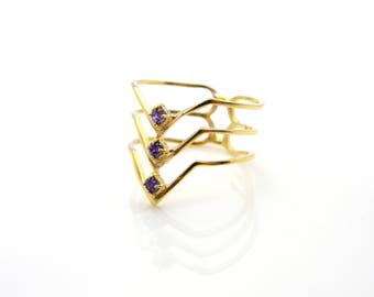 Gemstone ring amethyst ring gold birthstone ring gold jewelry for women delicate ring full finger ring gold filled 14k ring
