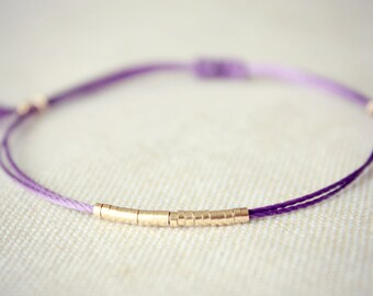 Original Lucia / Royal Purple Friendship Bracelet with Thin Row of Small Gold Beads