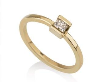 Iris Ring, Princess cut diamond ring