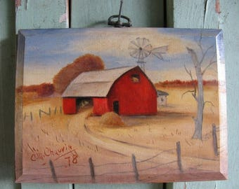 1978 Miniature Big Red Barn Oil on Wood Board, Folk Art, Country, Primitive. Hay Stack, Wind Mill, Signed Chauvin