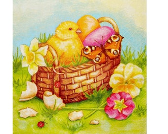 Set of 3 napkins PAQ006 chick in a basket of eggs and daffodils