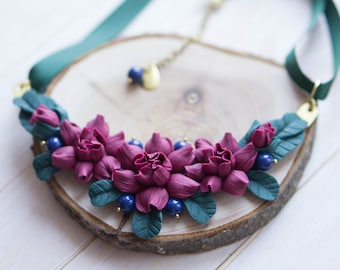 Blue Statement Necklace with Magenta Flowers, Bib Necklace, Delicate Flower Jewelry