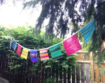 Mexican Fabric Banner, Squares Bunting, Fiesta Wall Decor, Wall Hanging, Aztec Bidal Shower, Wedding Garland, Children Party Decorations