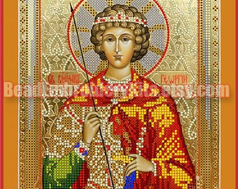 St. George The Victorious icon DIY bead embroidery kit, bead stitching, beading on needlepoint kit, beadpoint, beaded painting craft set