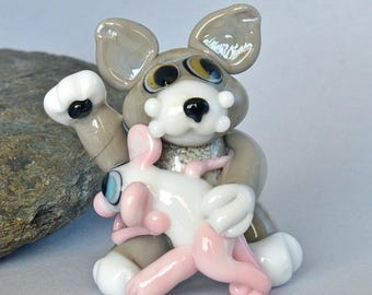 CAT and Dancing Rat,   lampwork glass bead, whimisical lampwork focal bead, Izzybeads SRA