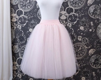 Blush Pink Tulle Skirt - Adult Knee Length Tutu or Petticoat with Stretch Lycra Waistband - Custom Made to Your Size