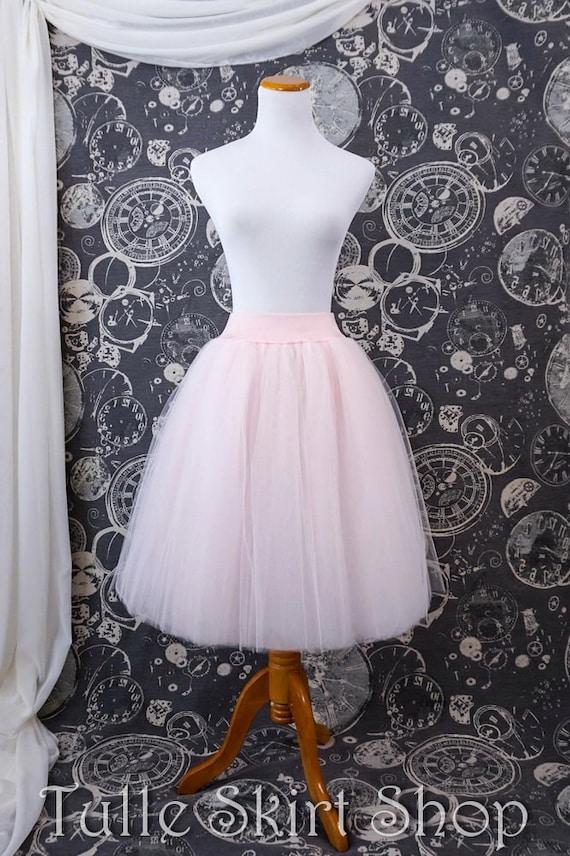 efa3dbeebb0 Blush Pink Tulle Skirt Adult Knee Length Tutu or Petticoat