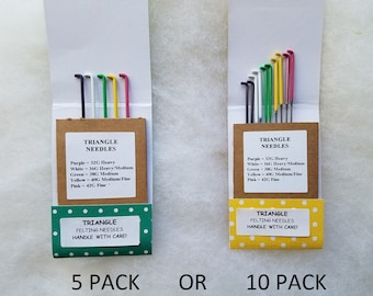 TRIANGLE FELTING NEEDLES / Color Coded Variety Pack / 32 gauge / 36 gauge / 38 gauge / 40 gauge / 42 Gauge / felting needle assortment