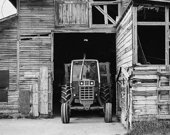 Farm Photography, Tractor Photo, Barn Photograph, Rustic Wall Decor, Fine Art Print, The Adirondacks, Black and White, Grey, Monochrome