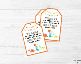 Dinosaur thank you cards -  Thanks for stomping by - I hope you had a roaring good time - Thank you tags - Favor bags - Dinosaur cards