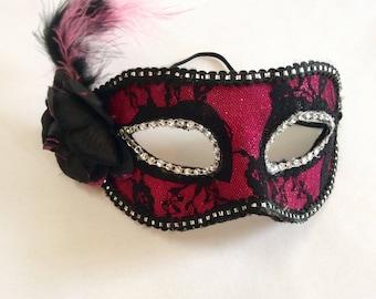 pink black masquerade mask, lace mask, halloween mask, masquerade mask, mardi gras mask, gatsby mask, glamorous mask, party mask
