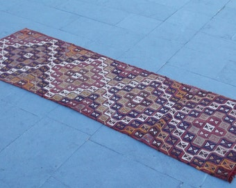 vintage turkish mini runner kilim rug 185x62 cm   6x2 feet,boho kilim,anatolia kilim,wool kilim,brocaded kilim,