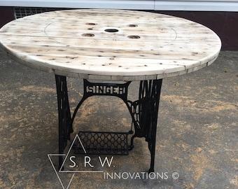 Stunning Repurposed Sewing Machine Table - Spool Top - Sewing Machine Base - Unique Table - Vintage Sewing Machine - Furniture