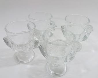 4 Retro French Glass Egg Cups in Shape of Hens, Vintage Chicken Egg Cups, Gift Idea, Kitchenalia