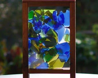 Sun Catcher Freestanding Sea Glass Stained Glass Suncatcher, Large Size