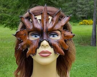 Leather Brown leaf mask
