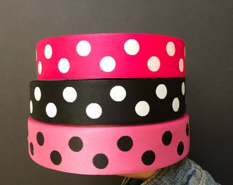 Polka dots woven jacquard embroidered ribbon trim 3 yards 38mm 1.5 inches wide free domestic shipping