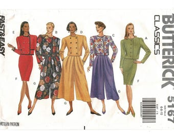 1990s Butterick 5167 EASY Misses Petites Button Front Top or Jacket Skirt, Split Skirt Womens Sewing Pattern Size 6 8 10 Bust 30 31 32 Uncut