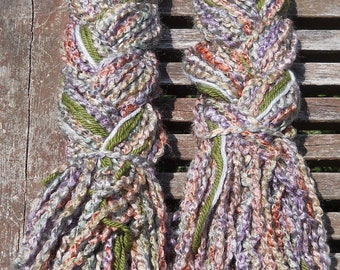 "CLEARANCE!  20"" hair falls - thick light purple/multi acrylic yarn with olive/grey accents"