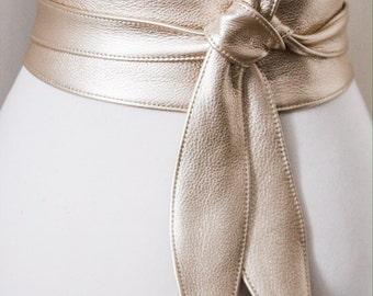 Light Gold Leather Tulip Tie Obi Belt | Waist Belt | Obi belt |Leather Belt| Plus Size Belt | Bridesmaids belt | dresses belt| ready to ship