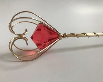 Red jewel scepter LARGE crystal