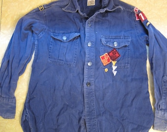 1950s Boys Cub Scouts (BSA) Boy Scouts of America Denim Shirt with Patches