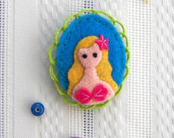 Little Mermaid Fairytale Felt Brooch