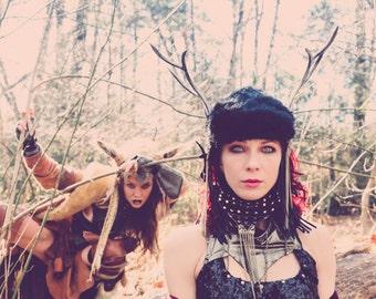 Black Fur Antler Headdress / Faerie Headdress / Burning Man Headdress / Festival Headdress / Handmade Headdress / Costume Headpiece