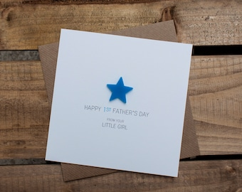 HAPPY 1st FATHERS DAY Card from your little Girl with detachable magnet keepsake