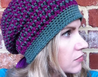 Slouchy hat pattern / textured slouchy beanie crochet pattern No.209 Digital Crochet Pattern English