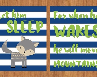 Grey Fox  Nursery Let Him Sleep For When He Wakes He Will Move Mountains Nursery Wall Art Lime Green Navy Blue Stripes Grey Set of 2 (211)