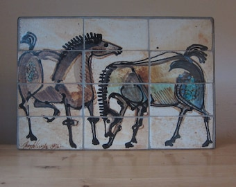 "Unknown artist - great 70s ceramic picture ""Horses"" sign."