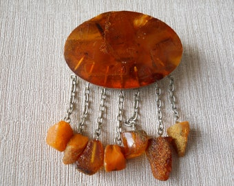Natural Baltic Amber Antique Brooch From USSR