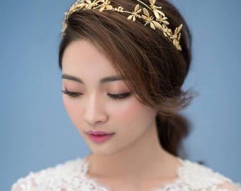 Antheia Hairpiece, Bridal Hairpiece, Wedding Hairpiece, Bridal Crown, Wedding Crown, Bridal Headpiece, Gold Hairpiece, Wedding Comb