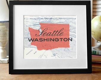 Seattle Washington Print, Seattle Print, Seattle Map Print, Washington State Print, Seattle Art