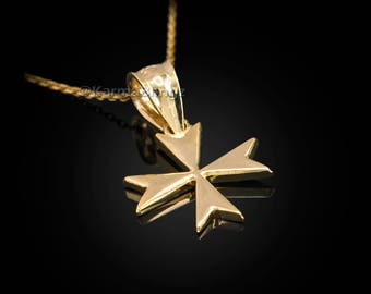 Gold Maltese Cross Womens Tiny Charm Necklace (yellow, white, rose gold)