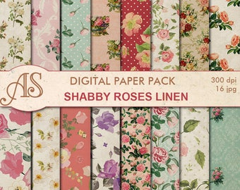Digital Shabby Roses Linen Paper Pack, 16 printable Digital Scrapbooking papers, retro roses Digital Collage, Instant Download, set 275