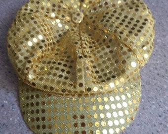 1970s Disco cap, vintage  gold sequins.