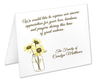 Sympathy Acknowledgement Cards, Funeral Thank You Cards, Sympathy Thank Yous, Funeral Cards, Personalized Funeral Note Cards, Sunflower